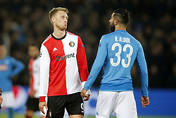 (l-r) Nicolai Jorgensen of Feyenoord, Raul Albiol of SSC Napoli during the UEFA Champions League group F match between Feyenoord Rotterdam and SSC Napoli at the Kuip on December 06, 2017 in Rotterdam, The Netherlands