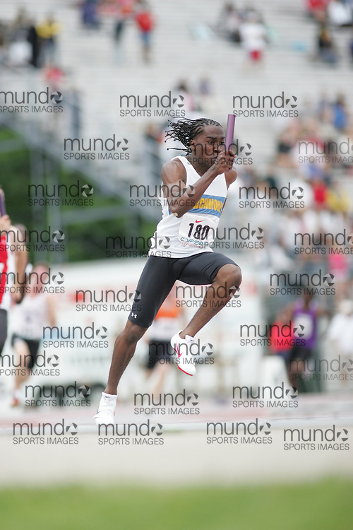 (London, Ontario}---04 June 2010) \\ the senior boys 4x100m relay final at the 2010 OFSAA Ontario High School Track and Field Championships. Photograph copyright Sean Burges / Mundo Sport Images, 2010.