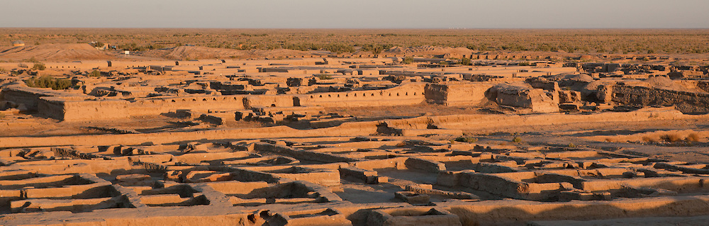 The view over the ruins of the ancient city of Gonur Depe, now an archaological site and UNESCO world heritage site in Turkmenistan