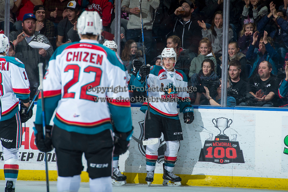 KELOWNA, CANADA - JANUARY 5: Leif Mattson #28 of the Kelowna Rockets celebrates a first period goal against the Seattle Thunderbirds on January 5, 2017 at Prospera Place in Kelowna, British Columbia, Canada.  (Photo by Marissa Baecker/Shoot the Breeze)  *** Local Caption ***
