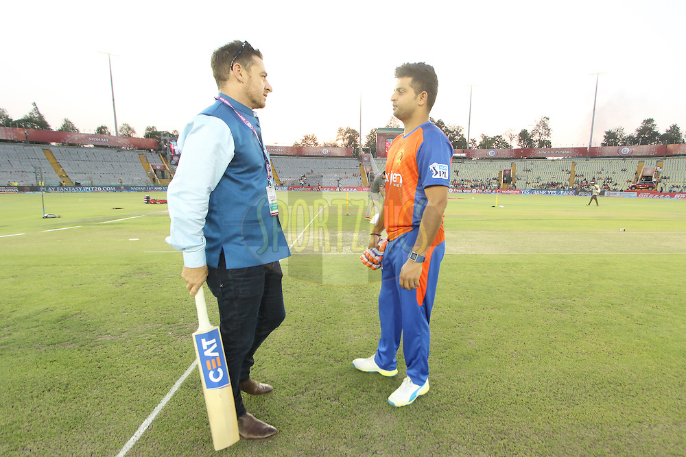 Gujarat Lions captain Suresh Raina (R)during match 3 of the Vivo Indian Premier League ( IPL ) 2016 between the Kings XI Punjab and the Gujarat Lions held at the IS Bindra Stadium, Mohali, India on the 11th April 2016<br /> <br /> Photo by Arjun Singh/ IPL/ SPORTZPICS