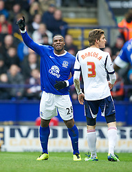 BOLTON, ENGLAND - Saturday, January 26, 2013: Everton's Victor Anichebe celebrates the first goal, which was deflected in off Steven Pienaar against in action against Bolton Wanderers during the FA Cup 4th Round match at the Reebok Stadium. (Pic by David Rawcliffe/Propaganda)