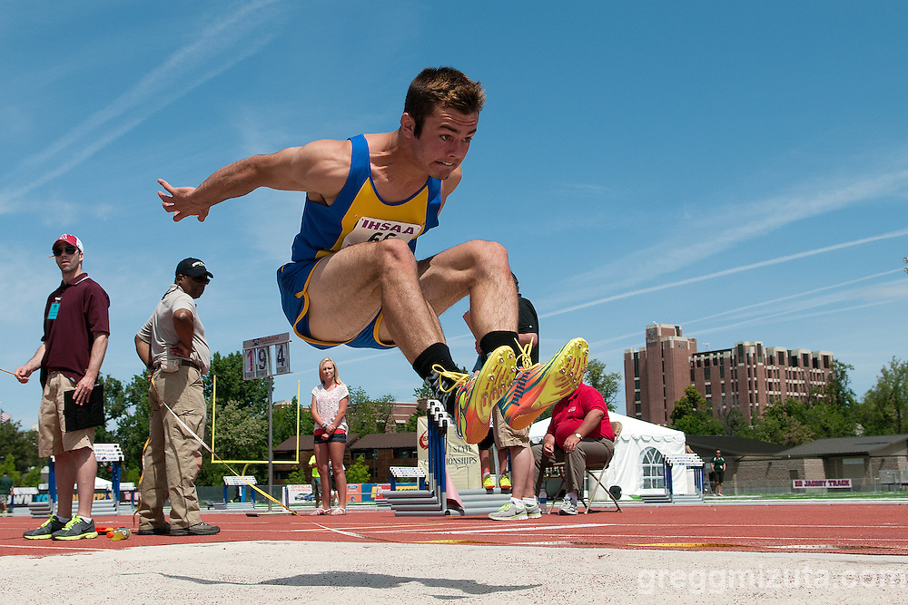 Caldwell senior Brooks Ney long jumps during the Idaho 4A State Track & Field Championships at Dona Larsen Park, Boise, Idaho on May 17, 2014. Ney finished seventh with a jump of 20-03.50