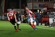 Dylan Connolly and Jake Doyle-Haye  during the EFL Sky Bet League 2 match between Cheltenham Town and Bradford City at Jonny Rocks Stadium, Cheltenham, England on 17 September 2019.