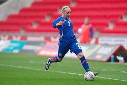 LLANELLI, WALES - Thursday, March 31, 2011: Iceland's Thordis Hronn Sigfusdottir in action against Turkey during the UEFA European Women's Under-19 Championship Second Qualifying Round (Group 3) match at Parc Y Scarlets. (Photo by David Rawcliffe/Propaganda)