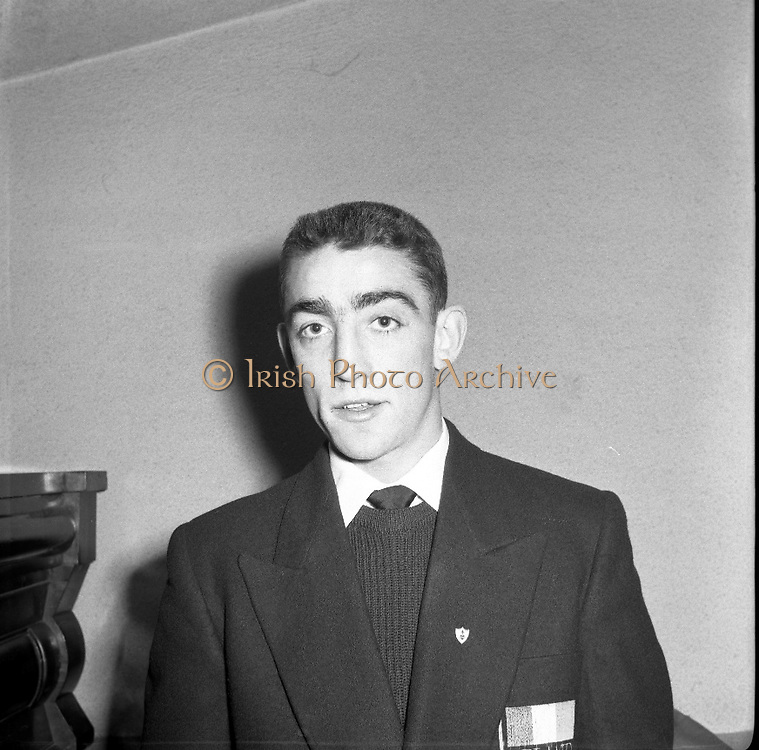 Boxers Leave for Olympics in Melbourne..Martin Smyth - Feather-Weight Boxer, Belfast..26/11/1956