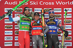 14.01.2018, Idre Fjall, Idre, SWE, FIS Weltcup Ski Cross, Idre Fjall, im Bild Alex Fiva, SUI, Jean Frederic Chapuis France and Jonas Devouassoux France // during the FIS Ski Cross World Cup at the Idre Fjall in Idre, Sweden on 2018/01/14. EXPA Pictures © 2018, PhotoCredit: EXPA/ Nisse Schmidt<br /> <br /> *****ATTENTION - OUT of SWE*****