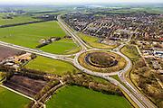 Nederland, Friesland, Gemeente Skarsterlan (Scharsterland), 01-05-2013; knooppunt Joure met A7 naar Sneek / Afsluitdijk (boven), A7 richting Heerenveen / Groningen (linksonder) en de A6 richting Lemmer / Noordoostpolder (naar links). Afslag Joure (mi re).<br /> <br /> luchtfoto (toeslag op standard tarieven)<br /> aerial photo (additional fee required)<br /> copyright foto/photo Siebe Swart