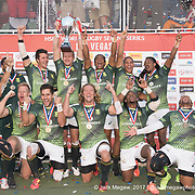 South Africa celebrate winning the cup after beating Fiji 19-12 in the Cup Final of the USA Sevens,  Round Five of the World Rugby HSBC Sevens Series in Las Vegas, Nevada, Sunday March 5, 2017. <br /> <br /> Jack Megaw for USA Sevens.<br /> <br /> www.jackmegaw.com<br /> <br /> jack@jackmegaw.com<br /> @jackmegawphoto<br /> [US] +1 610.764.3094<br /> [UK] +44 07481 764811