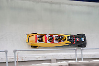 Teams from Switzerland compete in the four-man bobsleigh finals during the 2010 Olympic Winter Games in Whistler, BC Canada.