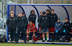 "LIVERPOOL, ENGLAND - Saturday, February 10, 2018: Liverpool's Under-18 manager Steven Gerrard looks dejected as his side lose 3-1 during an Under-18 FA Premier League match between Everton FC and Liverpool FC, the ""mini-mini-Merseyide Derby"" at Finch Farm. (Pic by David Rawcliffe/Propaganda)"