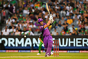 14th January 2019, Melbourne Cricket Ground, Melbourne, Australia; Australian Big Bash Cricket, Melbourne Stars versus Hobart Hurricanes; Ben McDermott of the Hobart Hurricanes attempts to pull the ball