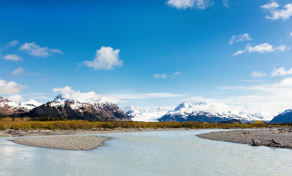 Meltwater from Sheridan Glacier forms Sheridan Glacier No. 3 stream in the Copper River Delta near Cordova in Southcentral Alaska. Spring. Morning.