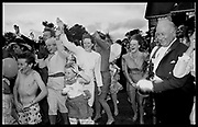 Guests waving goodbye to the bride and groom at the wedding of Charles Fraser to hon. Lucy Pearson. Cowdray Park. 23 July 1988. Film 88715f30<br /> &copy; Copyright Photograph by Dafydd Jones<br /> 66 Stockwell Park Rd. London SW9 0DA<br /> Tel 0171 733 0108