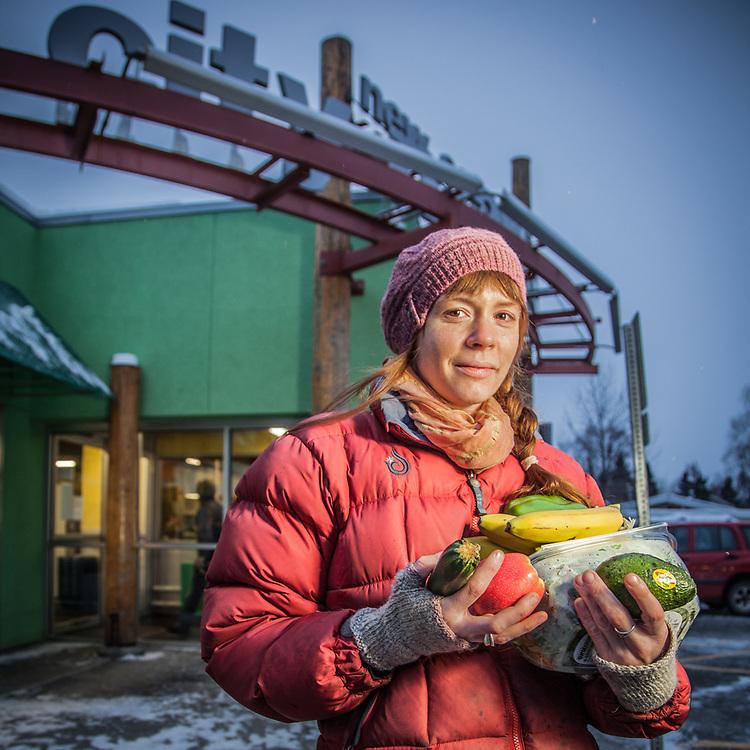 Evolve Yoga Studio manager Erin D'Eimon in front of City Market, Anchorage  erindeimon@yahoo.com