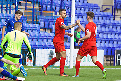 BIRKENHEAD, ENGLAND - Sunday, September 11, 2016: Liverpool's Ben Woodburn celebrates scoring the first goal against Leicester City with team-mate Danny Ings during the FA Premier League 2 Under-23 match at Prenton Park. (Pic by David Rawcliffe/Propaganda)