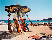 Stall on the beach selling bikinis and sarongs, Ibiza, 2000