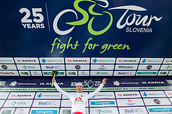 Jon Bozic of Adria Mobil Cycling Team celebrates in white jersey as best young rider during Trophy ceremony after the 2nd Stage of 25th Tour de Slovenie 2018 cycling race between Maribor and Rogaska Slatina (152,7 km), on June 14, 2018 in  Slovenia. Photo by Vid Ponikvar / Sportida