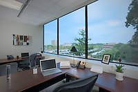 Architectural interior of corner office at Town Center in Columbia MD