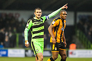 Forest Green Rovers Lee Collins(5) points the way during the EFL Sky Bet League 2 match between Forest Green Rovers and Cambridge United at the New Lawn, Forest Green, United Kingdom on 20 January 2018. Photo by Shane Healey.