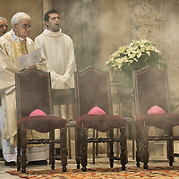 MILAN, ITALY - DECEMBER 07:  An old canon waits too old to walk waits at his chair, during the Communion at the Missa Pontificalis for the relics of Saint Ambrogio on December 7, 2010 in Milan, Italy. The skeleton of Saint Ambrogio lays with the remains of San Gervasio e San Protasio in the ancient basilica of Sant'Ambrogio in the city centre of Milan