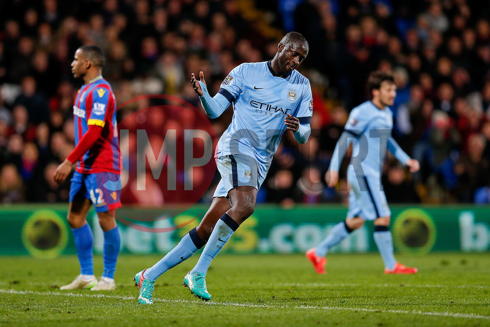 Yaya Toure of Manchester City celebrates in a subdued way after he scores a goal to make it 2-1 - Photo mandatory by-line: Rogan Thomson/JMP - 07966 386802 - 06/04/2015 - SPORT - FOOTBALL - London, England - Selhurst Park - Crystal Palace v Manchester City - Barclays Premier League.