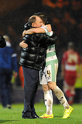 Yeovil Town Manager, Gary Johnson celebrates at the end of the game with Yeovil Town's Joe Edwards - Photo mandatory by-line: Dougie Allward/JMP - Mobile: 07966 386802 - 16/12/2014 - SPORT - football - Yeovil - Huish Park - Yeovil Town v Accrington Stanley - FA Cup