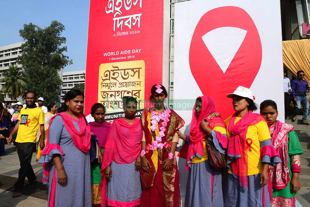 December 1, 2019, Dhaka, Bangladesh: Bangladeshi activist, Sex workers, few wariness organization and Transsexuals attend a rally on the occasion of the World Aids Day in Dhaka, Bangladesh on December 01, 2019. The first case of HIV/AIDS in Bangladesh was detected in 1989. According to UNAIDS Bangladesh is one of the few countries in the world where the frequency of HIV and AIDS infections is increasing. (Credit Image: © Str/NurPhoto via ZUMA Press)