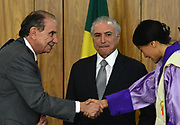 25.04.2018 - BRASÍLIA, DF -  O presidente da República, Michel Temer, recebe a embaixadora do Butão, senhora Doma Tshering, na quarta-feira (25), em cerimônia de apresentação de cartas credenciais no Palácio do Planalto, em Brasilia, ( Foto: RENATO COSTA / FRAMEPHOTO )