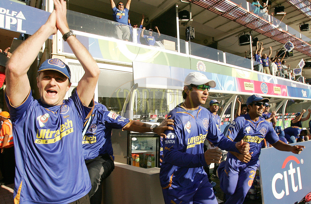 PORT ELIZABETH, SOUTH AFRICA - 02 May 2009. The Royals dug out celebrates the win during the  IPL Season 2 match between the Deccan Chargers and the Rajatshan Royals held at St Georges Park in Port Elizabeth , South Africa..