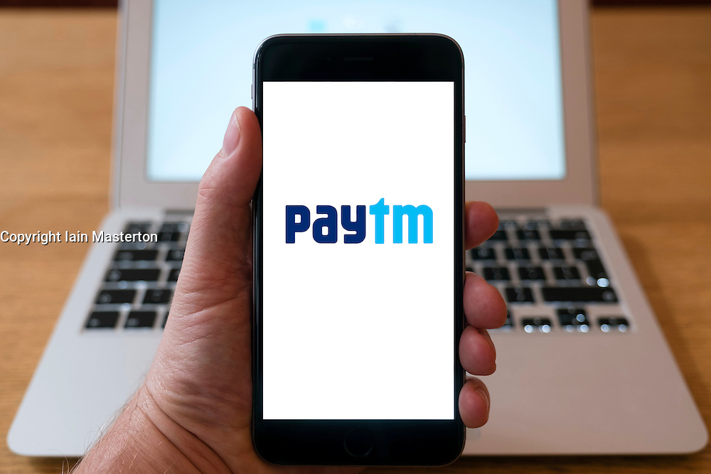 Indian Paytm company logo on website on smart phone screen.