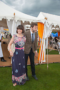 CHRIS O'DOWD; DAWN PORTER, The Veuve Clicquot Gold Cup Final.<br /> Cowdray Park Polo Club, Midhurst, , West Sussex. 15 July 2012.