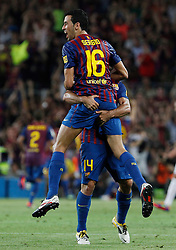 17.08.2011, Camp Nou, Barcelona, ESP, Supercup 2011, FC Barcelona vs Real Madrid, im Bild FC Barcelona's Sergio Busquets (f) and Javier Mascherano celebrates goal during Spanish Supercup 2nd match.August 17,2011. EXPA Pictures © 2011, PhotoCredit: EXPA/ Alterphotos/ Acero +++++ ATTENTION - OUT OF SPAIN / ESP +++++