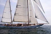Adventuress racing in the Museum of Yachting Classic Yacht Regatta.