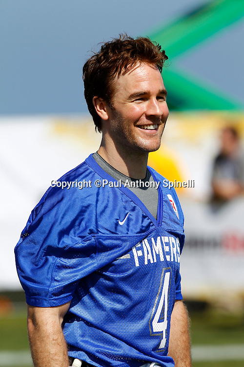 Actor James Van Der Beek (04) of the Famers smiles as he plays flag football in the EA Sports Madden NFL 11 Launch celebrity and NFL player flag football game held at Malibu Bluffs State Park on July 22, 2010 in Malibu, California. (©Paul Anthony Spinelli)