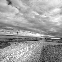 Grey skies above cross roads in North Dakota, Cavalier County USA