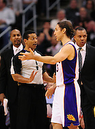 Feb. 15, 2012; Phoenix, AZ, USA; Phoenix Suns guard Steve Nash (13) talks with NBA Official Bill Kennedy while playing against the Atlanta Hawks during the second half at the US Airways Center. The Hawks defeated the Suns 101-99. Mandatory Credit: Jennifer Stewart-US PRESSWIRE..