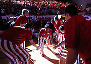 The spotlight shines on Indiana Hoosiers guard James Blackmon Jr. during introductions before the game with the Greyhounds. Indiana hosted the University of Indianapolis in a preseason game at Assembly Hall on Monday, November 10, 2014.