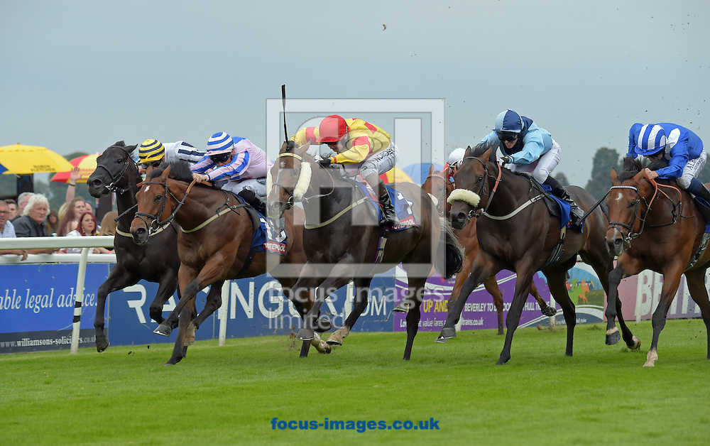 Alpha Delphini ridden by Connor Beasley (yellow with red diamonds , armlets and cap) wins totesportscoop6 Beverley Bullet Sprint Stakes during the Totepool Beverley Bullet Day at Beverley Racecourse, Yorkshire.<br /> Picture by Martin Lynch/Focus Images Ltd 07501333150<br /> 27/08/2016