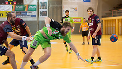 09.12.2014, Sporthalle, Leoben, AUT, OeHB-Cup Achtelfinale, Union JURI Leoben vs SG INSIGNIS Handball West Wien, im Bild v.l.: Damagoj Surac (Leoben), , Fabian Posch (West Wien), Andreas Schwarz (Leoben) // durning the OeHB-Cup, Round of the last sixteen, between, Union JURI Leoben vs SG INSIGNIS Handball West Wien at the Sport Hall, Leoben, Austria on 2014/12/09, EXPA Pictures © 2014, PhotoCredit: EXPA/ Dominik Angerer