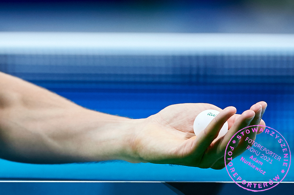 Rio de Janeiro, Brazil - 2016 September 08: Patryk Chojnowski from Poland competes in Men's Singles - Class 10 Group A in Table Tannis Hall - RioCentro 3 during 2016 Summer Paralympic Games on September 08, 2016 in Rio de Janeiro, Brazil.<br /> <br /> Adam Nurkiewicz declares that he has no rights to the image of people at the photographs of his authorship.<br /> <br /> Picture also available in RAW (NEF) or TIFF format on special request.<br /> <br /> Any editorial, commercial or promotional use requires written permission from the author of image.<br /> <br /> Mandatory credit:<br /> Photo by &copy; Adam Nurkiewicz / Mediasport