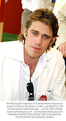 MR BEN ELLIOT nephew of Camilla Parker Bowles at a polo match in Berkshire on 28th July 2002.	PCL 374
