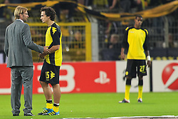 13.09.2011, Signal Iduna Park, Dortmund, GER, UEFA CL, Gruppe F, Borussia Dortmund (GER) vs Arsenal London (ENG), im Bild.Jürgen Klopp (Trainer Dortmund) und Mats Hummels (Dortmund #15) (R) vor dem Spiel..// during the UEFA CL, group F, Borussia Dortmund (GER) vs Arsenal London on 2011/09/13, at Signal Iduna Park, Dortmund, Germany. EXPA Pictures © 2011, PhotoCredit: EXPA/ nph/  Mueller       ****** out of GER / CRO  / BEL ******