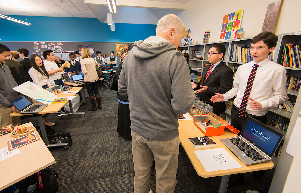 Project advisory team members, architects and Houston ISD staff tour Raisbeck Aviation High School in Seattle, January 22, 2014.