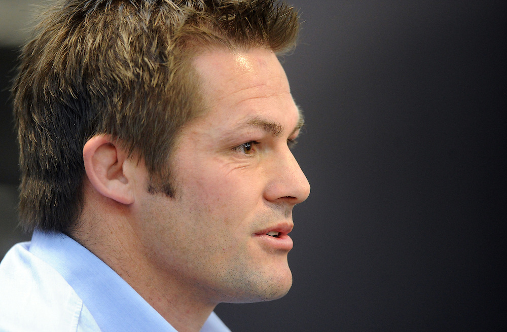 New Zealand All Black Captain Richie McCaw announces his retirement from rugby after leading his team to two Rugby World Cups, Wellington, New Zealand, Thursday, November 19, 2015. Credit:SNPA / Ross Setford