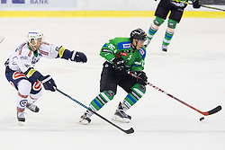 13.09.2015, Hala Tivoli, Ljubljana, SLO, EBEL, HDD Telemach Olimpija Ljubljana vs EC VSV, 2. Runde, in picture Rick Schofield (EC VSV, #61) and Sebastjan Hadzic (HDD Telemach Olimpija, #25) during the Erste Bank Icehockey League 2. Round between HDD Telemach Olimpija Ljubljana and EC VSV at the Hala Tivoli, Ljubljana, Slovenia on 2015/09/13. Photo by Urban Urbanc / Sportida