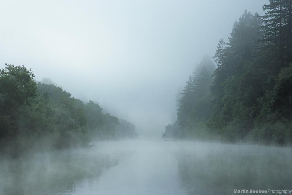 The Russian River in fog, Sonoma County, California