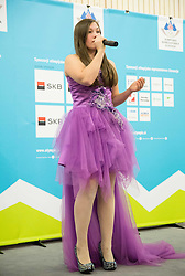 Singer Aleksandra Vovk performs during presentation of Slovenian Young Athletes before departure to EYOF (European Youth Olympic Festival) in Vorarlberg and Liechtenstein, on January 21, 2015 in Bled, Slovenia. Photo by Vid Ponikvar / Sportida