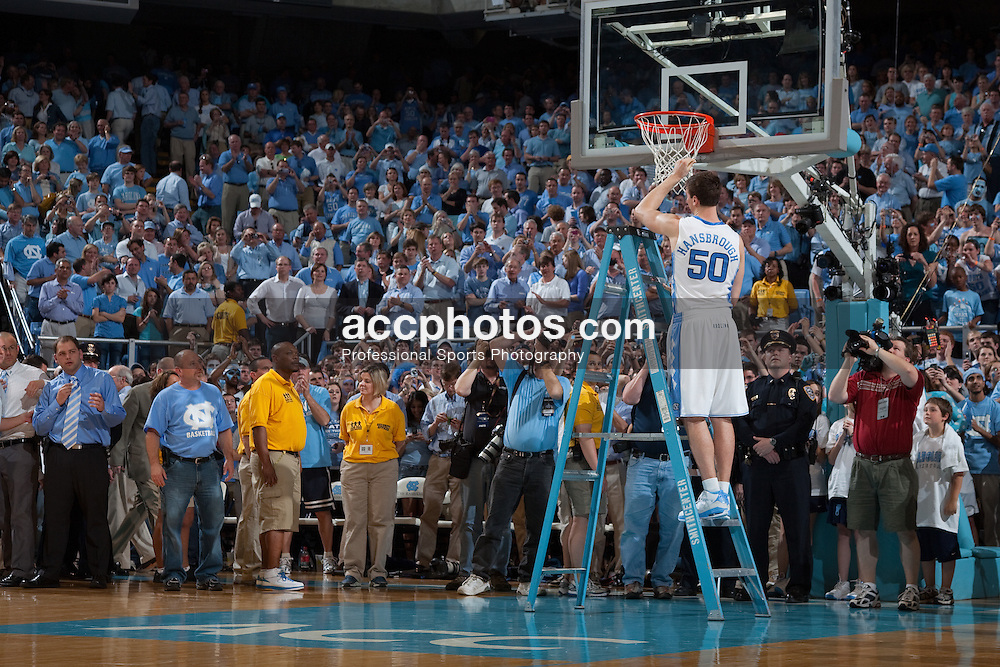 08 March 2009: North Carolina Tar Heels forward Tyler Hansbrough (50) after a 79-71 win over the Duke Blue Devils at the Dean Smith Center in Chapel Hill, NC.