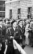 Sinn Fein (Provo) Dublin Parade.   K22..1976..25.04.1976..04.25.1976..25th April 1976..Sinn Fein held an Easter Rising Commemorative  parade..The parade started at St Stephens Green, Dublin and proceeded through the streets to the G.P.O.in O'Connell Street, the scene of the centre of the 1916 uprising..Image of a para military group as they parade in front of the G.P.O.